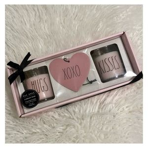 RAE DUNN Pink Hugs Kiss Candles Air Freshener Set